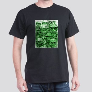 skulls dark ink green shade Dark T-Shirt
