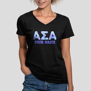 Alpha Sigma Alpha Flor Women's V-Neck Dark T-Shirt