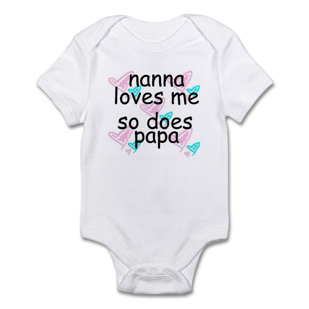 CafePress-Nana-Loves-Me-So-Does-Papa-Infant-Creeper-Baby-Bodysuit-67107622 thumbnail 5