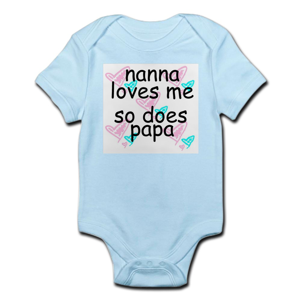 CafePress-Nana-Loves-Me-So-Does-Papa-Infant-Creeper-Baby-Bodysuit-67107622 thumbnail 9