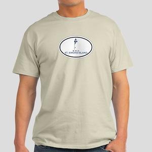 St. Simons Island - Oval Design. Light T-Shirt