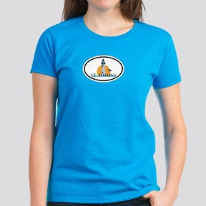 St. Simons Island - Oval Design. Women's Dark T-Sh