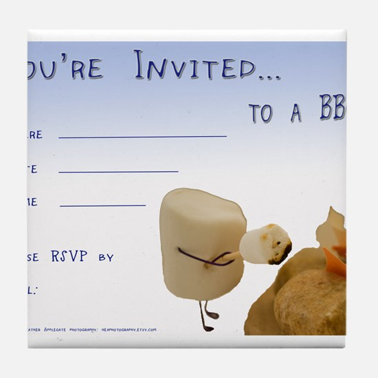 BBQ - Party Invitation Tile Coaster