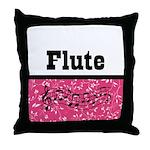 Flute Pink Damask Throw Pillow