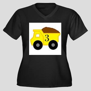 Third Birthday Dump Truck Women's Plus Size V-Neck
