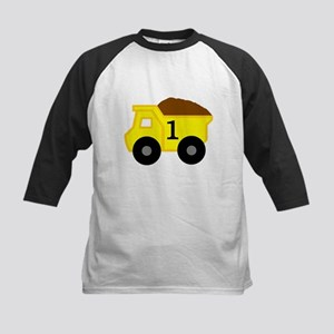 First Birthday Dump Truck Kids Baseball Jersey