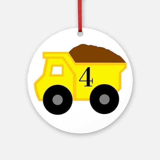 Fourth Birthday Dump Truck Ornament (Round)