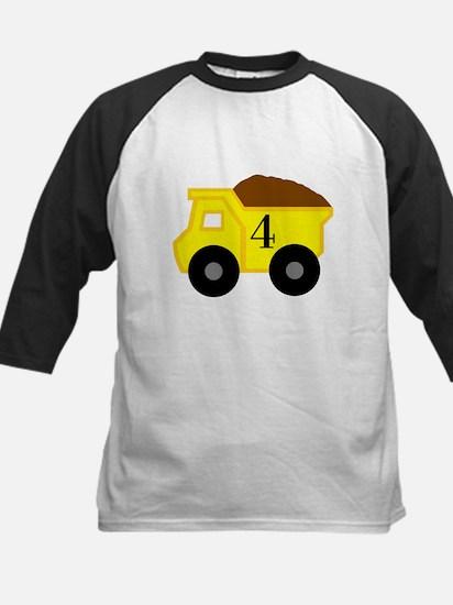Fourth Birthday Dump Truck Kids Baseball Jersey