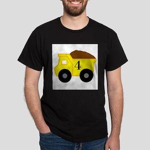 Fourth Birthday Dump Truck Dark T-Shirt