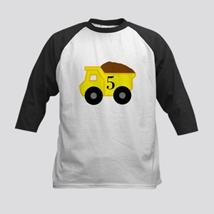 Fifth Birthday Dump Truck Kids Baseball Jersey