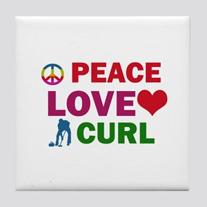 Peace Love Curl Designs Tile Coaster