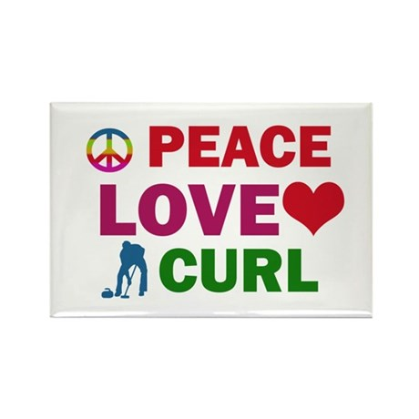 Peace Love Curl Designs Rectangle Magnet (100 pack