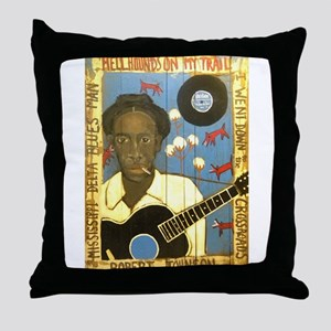 Robert Johnson Hell Hound On My Trail Throw Pillow