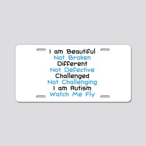 Iam Autism Watch Me Fly Aluminum License Plate