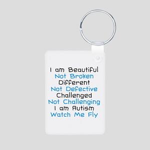 Iam Autism Watch Me Fly Aluminum Photo Keychain