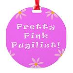 Pretty Pink Pugilist Breast Cancer Round Ornament