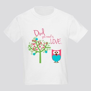 Owl You Need is Love Kids Light T-Shirt