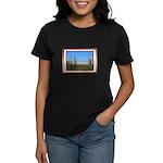 Snowy Four Peaks with Border Women's Dark T-Shirt