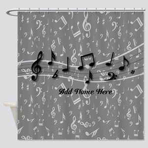 Personalized Grey black musical notes Shower Curta
