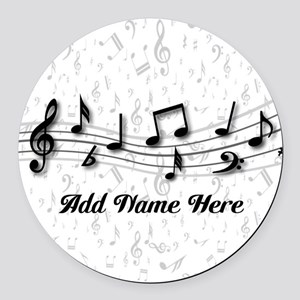 Personalized Musical Notes design Round Car Magnet