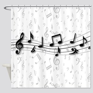 Designer Musical Notes in black and grey Shower Cu