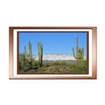 Snowy Four Peaks with Border Rectangle Car Magnet