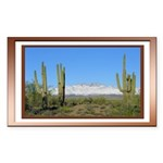 Snowy Four Peaks with Border Sticker (Rectangle)