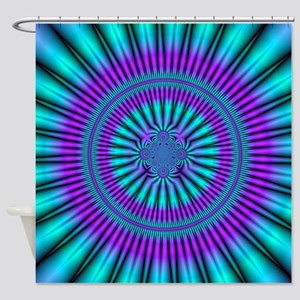 Teal and Purple Mind Warp Fractal Shower Curtain