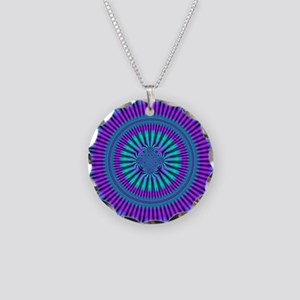 Teal and Purple Mind Warp Fractal Necklace Circle