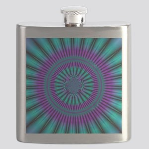 Teal and Purple Mind Warp Fractal Flask