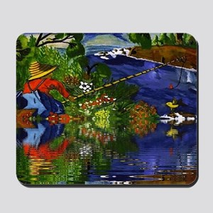 Boy Cane Fishing Mousepad