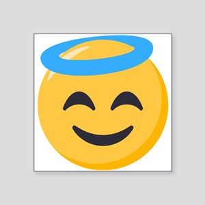 "Angel Smiley Emoji Square Sticker 3"" x 3"""