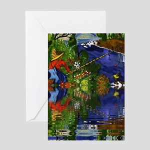 Boy Cane Fishing Greeting Card