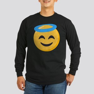 Angel Smiley Emoji Long Sleeve Dark T-Shirt
