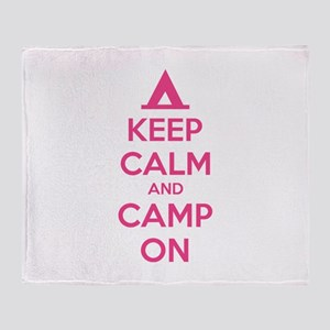 Keep calm and camp on Throw Blanket