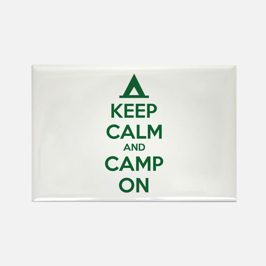 Keep calm and camp on Rectangle Magnet (100 pack)
