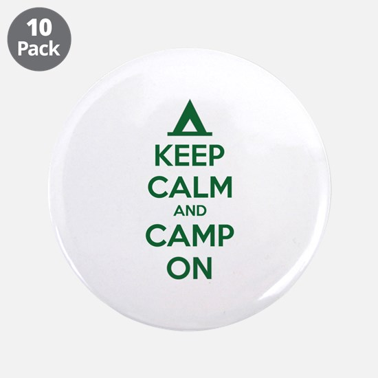 """Keep calm and camp on 3.5"""" Button (10 pack)"""