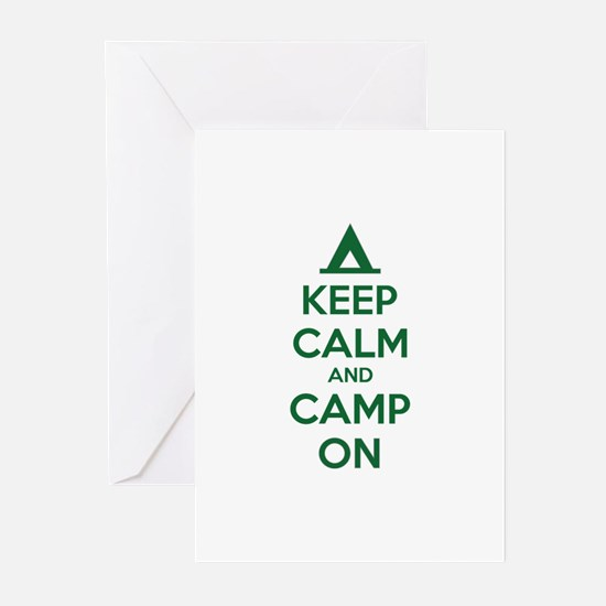 Keep calm and camp on Greeting Cards (Pk of 10)