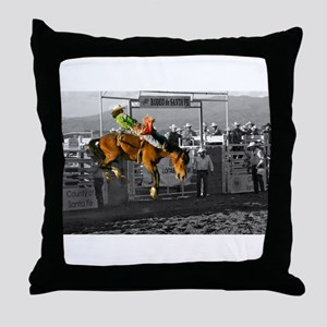 Rodeo Cowboy In Green Throw Pillow