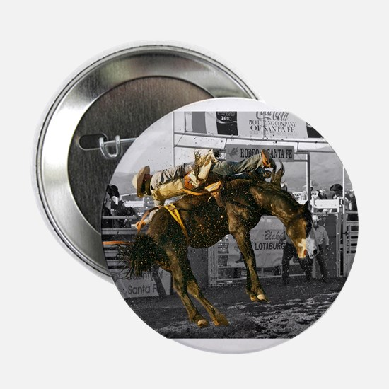"""Brave Rodeo Cowboy Kicking Up The Dust 2.25"""" Butto"""