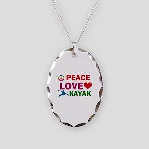 Peace Love Kayak Designs Necklace Oval Charm