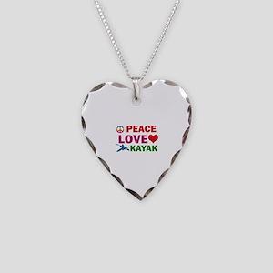 Peace Love Kayak Designs Necklace Heart Charm