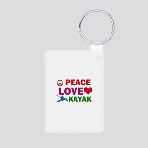 Peace Love Kayak Designs Aluminum Photo Keychain
