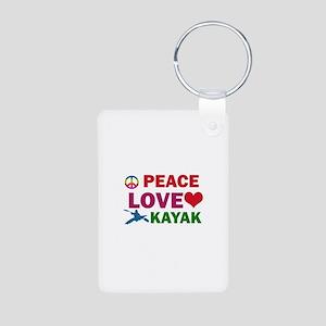 Peace Love Kayak Designs Aluminum Photo Keychain