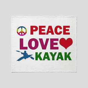 Peace Love Kayak Designs Throw Blanket