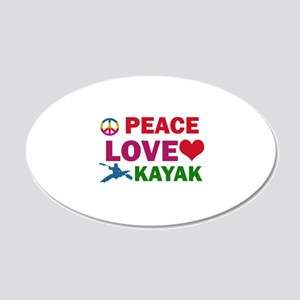 Peace Love Kayak Designs 20x12 Oval Wall Decal