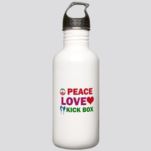 Peace Love Kick Box Designs Stainless Water Bottle