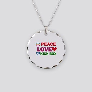 Peace Love Kick Box Designs Necklace Circle Charm