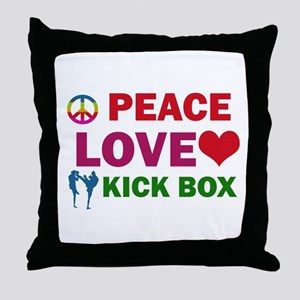 Peace Love Kick Box Designs Throw Pillow