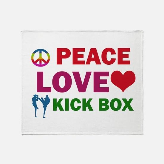 Peace Love Kick Box Designs Throw Blanket